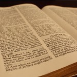 Close up view of an open Bible