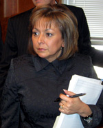 Gov. Susana Martinez talking to reporters after a press conference by Gage Skidmore.