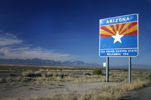 """Entering Arizona on I-10 Westbound"" by Wing-Chi Poon - Own work. Licensed under Creative Commons Attribution-Share Alike 2.5 via Wikimedia Commons - http://commons.wikimedia.org/wiki/File:Entering_Arizona_on_I-10_Westbound.jpg#mediaviewer/File:Entering_Arizona_on_I-10_Westbound.jpg"